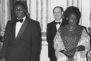 A picture taken in 1977 shows President Juvenal Habyarimana, left, and his wife, Agathe